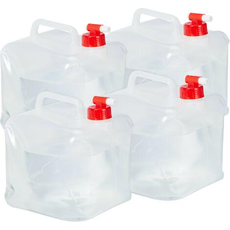 Lot de 4 bidons pliants, robinet, bouchon à vis, poignée, eau, camping, 5 litres, transparent/rouge