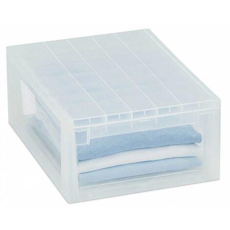 Lot de 4 boites de rangement à tiroirs transparents - Blanc
