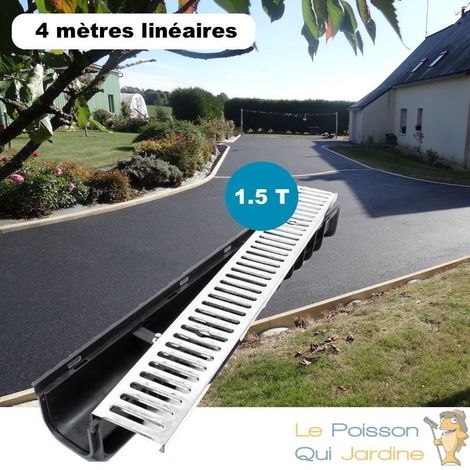 Lot de 4 : Caniveau 1 mètre 1,5 Tonnes pour drainage d'eaux usées.