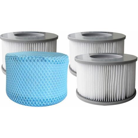Lot de 4 cartouches filtrantes avec filet pour spa gonflable MSPA - Blanc