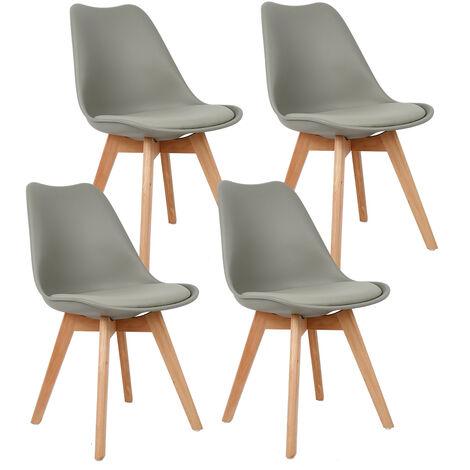 Lot de 4 Chaise avec coussin Design scandinave - gris clair - Gris clair