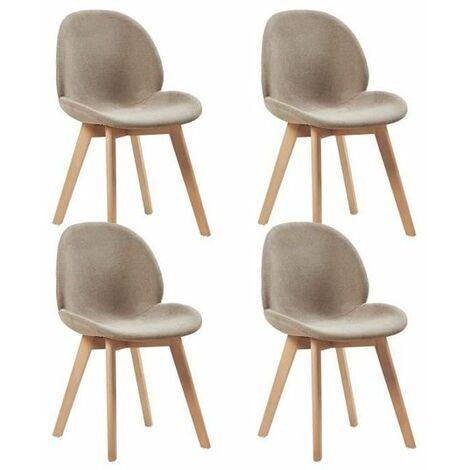 Lot de 4 Chaise de Salle à Manger Chaise Scandinave Tissu Gris Chaise 50.5 x 54.5 x 81.5 cm
