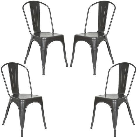 Lot de 4 Chaise de Salle à Manger Rétro, Chaise de Style Industriel, Chaise de Restaurant Chaise Bistro (Noir) - Noir