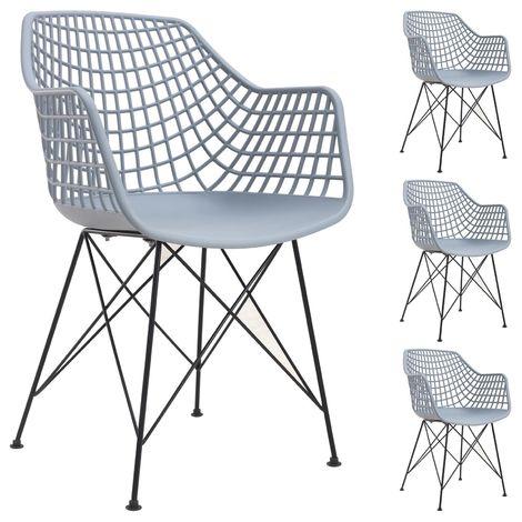 Lot de 4 Chaises en cuir et une Table pour Salle /à Manger cuisine Noir