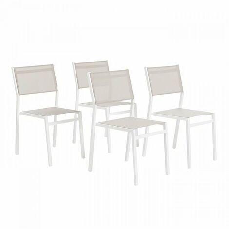 Lot de 4 chaises alu textilene