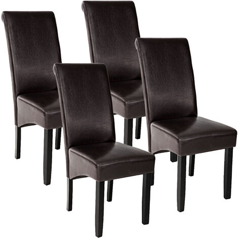 Lot de 4 chaises aspect cuir - lot de 4 chaises salle a manger, chaises de cuisine, chaises de salon