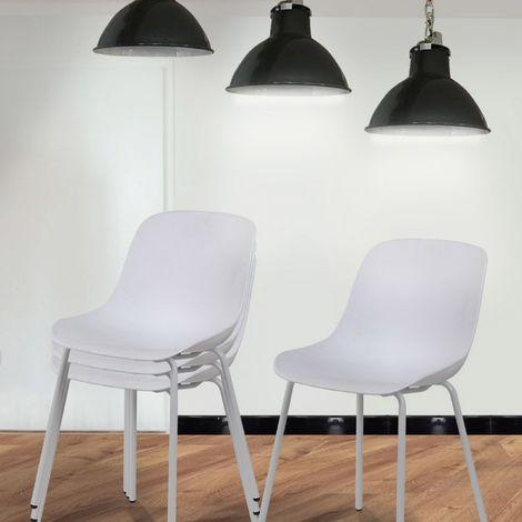 Lot de 4 chaises blanc & métal - Sara