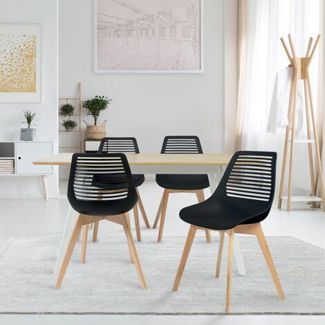 Lot de 4 chaises BONNIE noires pour salle à manger