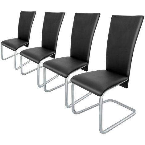 Lot de 4 chaises cantilever en porte-à-faux - coloris au choix