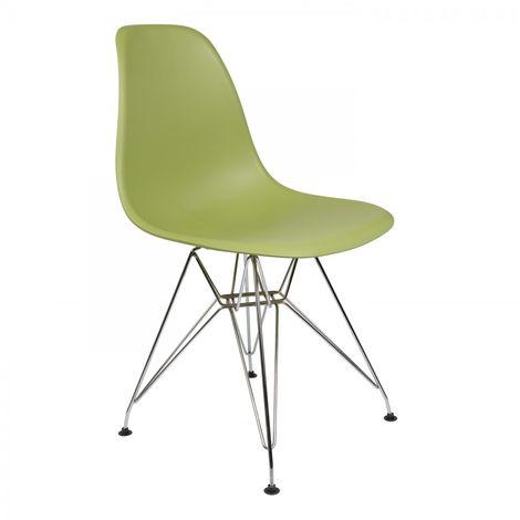 Lot de 4 chaises couleur Vert Olive IMS Eiffel pattes chromÈes