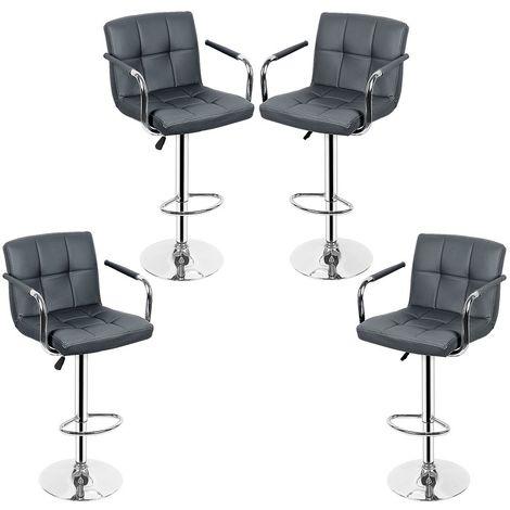 Lot de 4 Chaises de Bar avec Accoudoirs Pivotantes et Réglables en Hauteur 55cm - 75 cm Gris