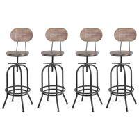 Lot de 4 chaises de bar de style industriel en bois réglable en hauteur, lot de tabourets de bar, tabouret de bar industriel bois -IKAYYA