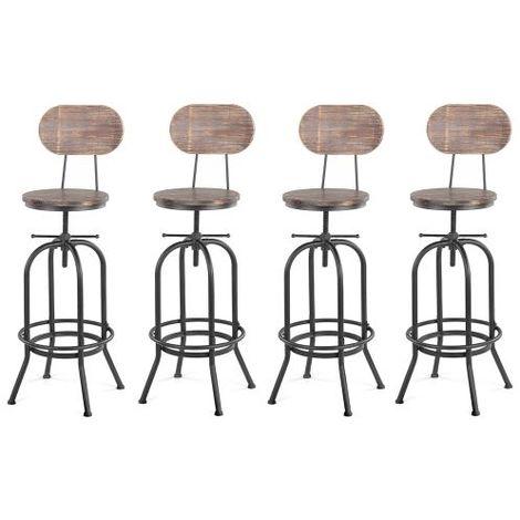 Lot de 4 chaises de bar de style industriel en bois réglable en hauteur, lot de tabourets de bar, tabouret de bar industriel bois -IKAYYA - Bois