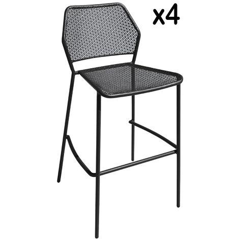 lot de 4 chaises de bar Empilables en fer coloris gris anthracite L 44 X P 58 X H 101