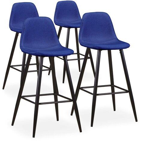 Lot de 4 chaises de bar Jody Tissu Bleu