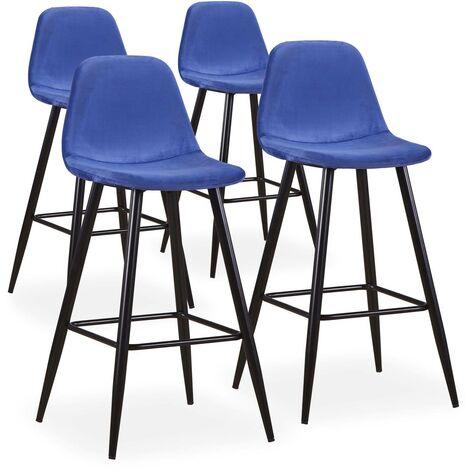 Lot de 4 chaises de bar Jody Velours Bleu - Bleu