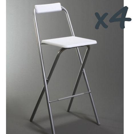 Lot de 4 chaises de bar Louna Blanc, structure en métal, Assise en panneaux de fibres de bois