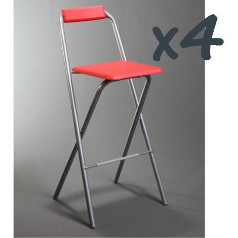 Lot de 4 chaises de bar Louna bordeaux, structure en métal, Assise en panneaux de fibres de bois