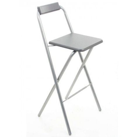 Lot de 4 chaises de bar Louna Gris, structure en métal, Assise en panneaux de fibres de bois
