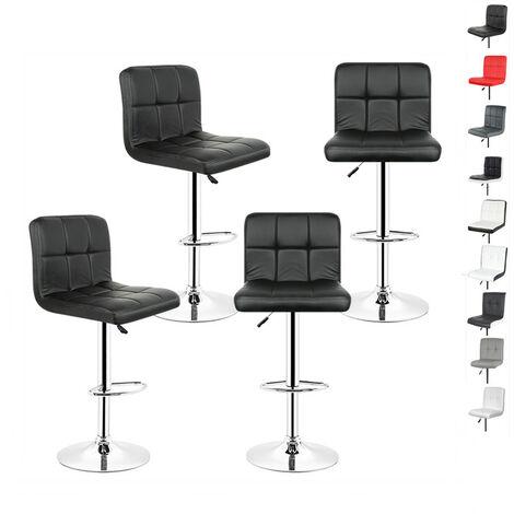 Lot de 4 Chaises de Bar Noir, Tabouret de Bar Réglable de 93 - 113 cm