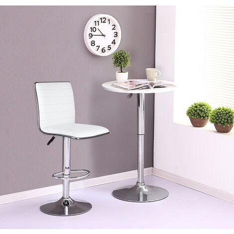 Lot de 4 Chaises de Bar Pied en Métal Pivotantes et Réglables en Hauteur 55 cm - 75 cm Blanc