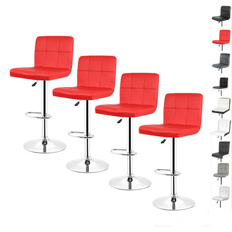 Lot de 4 Chaises de Bar Pour Salon Moderne Rouge Tabouret Reglable et Pivotant