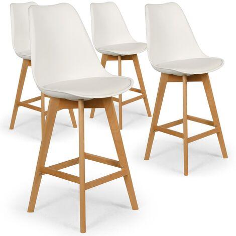 Lot de 4 chaises de bar scandinaves Bovary Blanc - Blanc