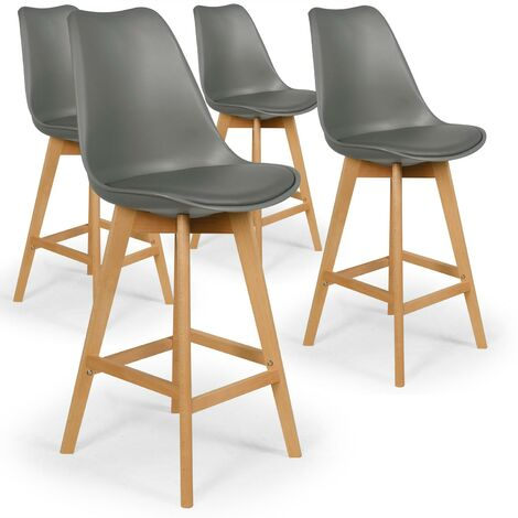 Lot de 4 chaises de bar scandinaves Bovary Gris - Gris