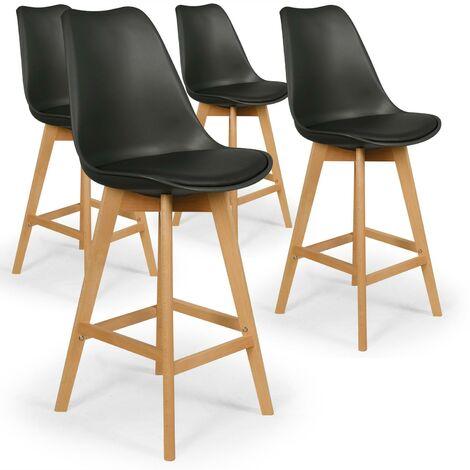 Lot de 4 chaises de bar scandinaves Bovary Noir