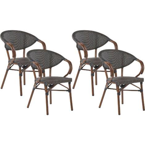 Lot de 4 chaises de jardin gris / effet bois foncé CASPRI
