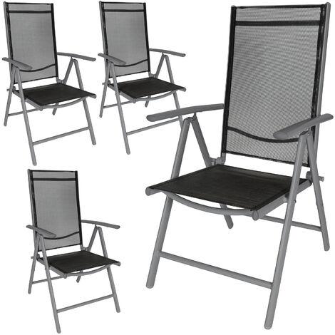 4 Chaises de Camping ou de Jardin Pliables Aluminium avec