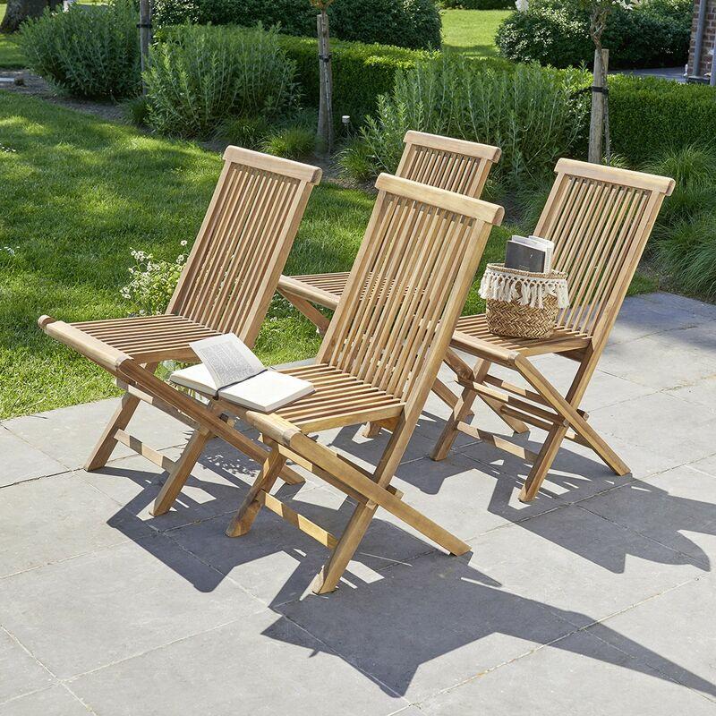 Chaise de jardin pliantes en teck huilé (lot de 4) - Marron