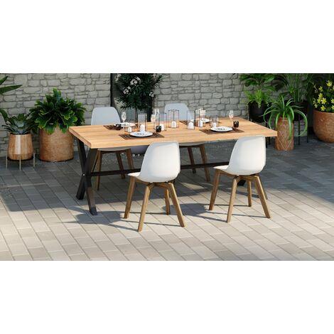 Lot de 4 chaises de jardin scandinave coloris blanc avec pied en bois massif - Collection Suzy - Blanc