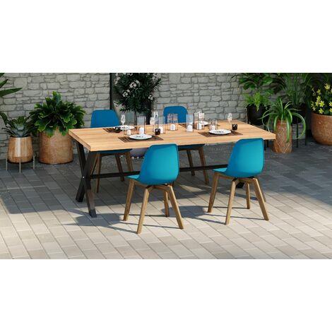 Lot de 4 chaises de jardin scandinave coloris bleu avec pied en bois massif - Collection Suzy - Bleu