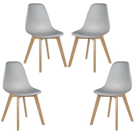 Lot de 4 chaises de salle à manger design contemporain ...