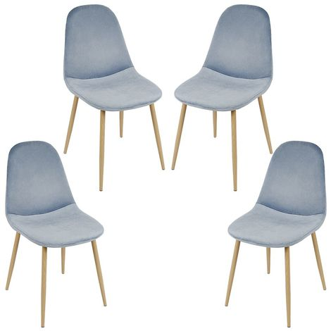 Lot de 4 chaises de salle à manger - Métal imprimé bois - Scandinave - L 43 x P 55 cm - Velours