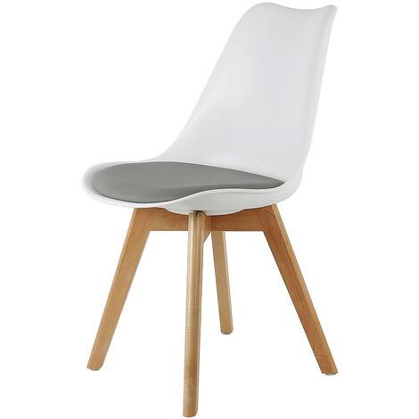 Lot de 4 chaises de salle a manger rembourrees en blanc gris