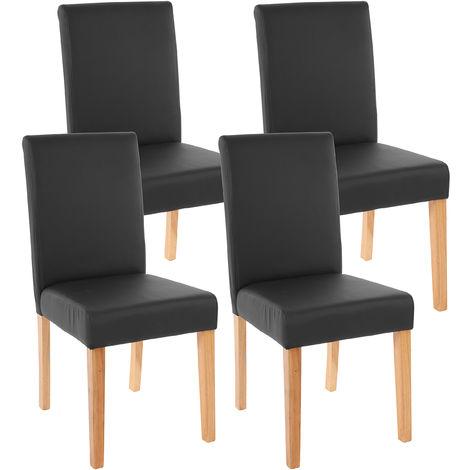 """main image of """"4x chaise de séjour Littau, fauteuil ~ tissu, aspect daim marron, pieds clairs"""""""