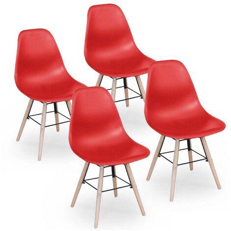 Lot de 4 chaises design rouge NINA