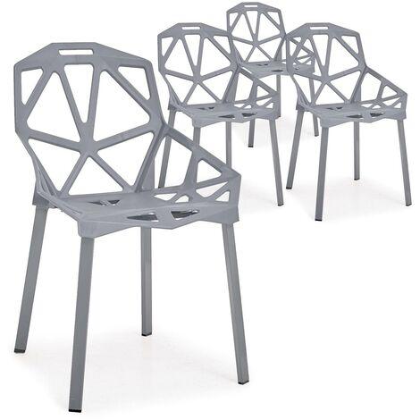 Lot de 4 chaises dossier toile d'araignée Spider Gris - Gris