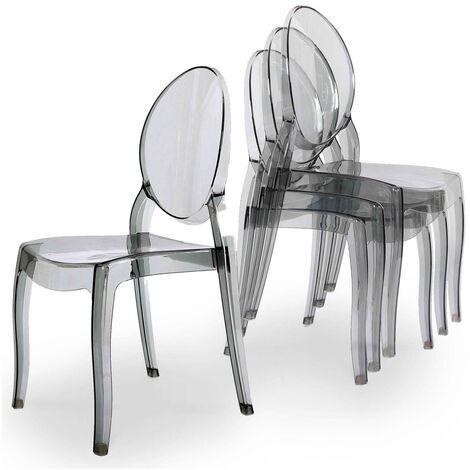 Lot de 4 chaises gris en plexi TOLGA
