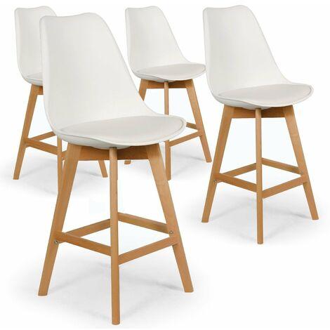 Lot de 4 chaises hautes style scandinave Catherina Blanc - H65cm
