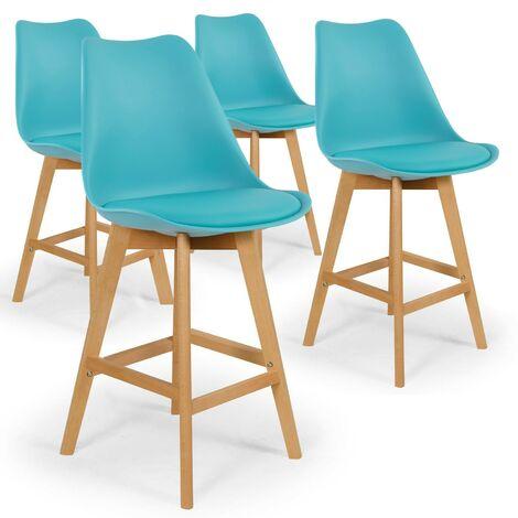 Lot de 4 chaises hautes style scandinave Catherina Bleu - H65cm