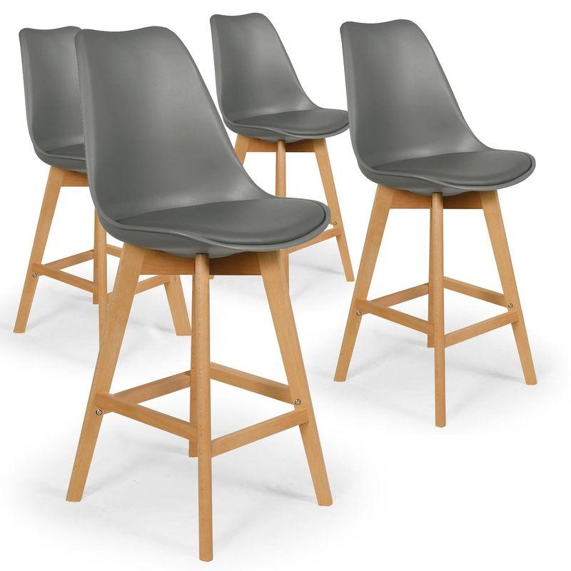 Lot de 4 chaises hautes style scandinave Catherina Gris H65cm