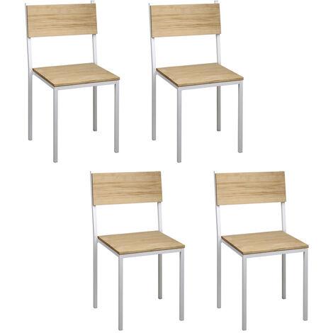 Lot de 4 chaises iCub empilables. Blanc 40x40x85cm. Effect Vintage