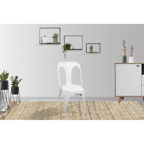 Lot de 4 chaises industrielles Blanc - Lucy