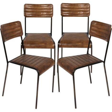 Lot de 4 chaises industrielles classiques cuir - Brown