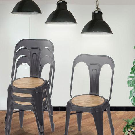 Lot de 4 chaises industrielles métal & bois - Emmy