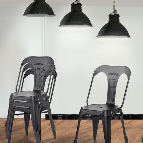 Lot de 4 chaises industrielles Noir - Lucy