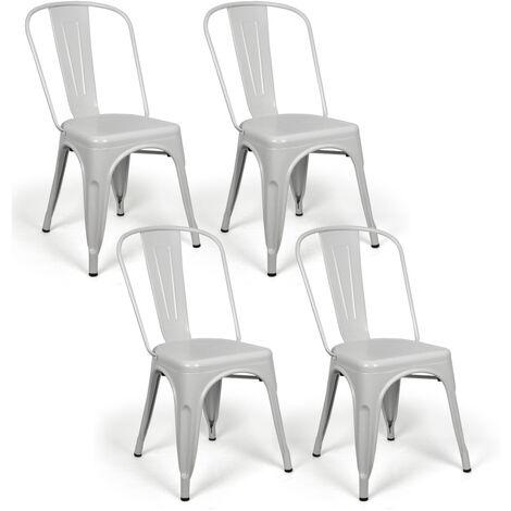 Lot de 4 chaises industriels Tulio Acier Blanc 46x52x85cm